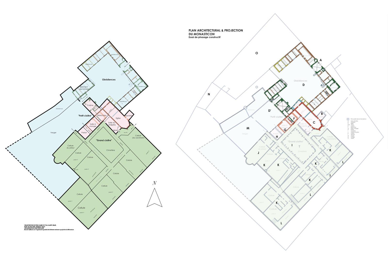 Plans archeo Chartreuse de Basseville mars 2010. Organisation des espaces. Essai de réflexion sur l'organisation spatiale des bâtiments existants et projection du Monasticon.