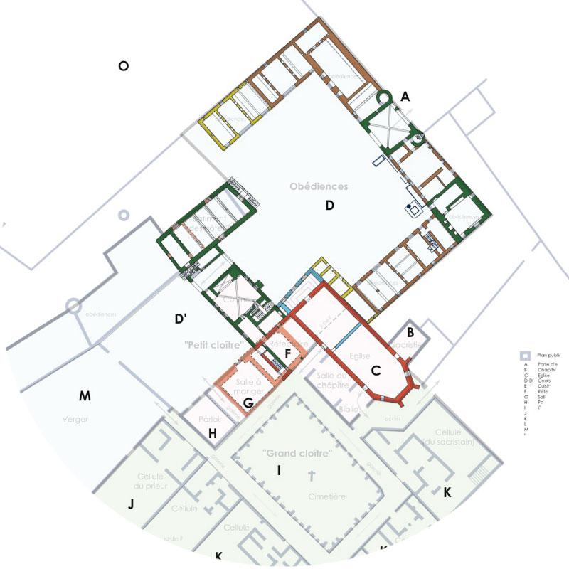 Plans archeo superposition Chartreuse de Basseville mars 2010. Organisation des espaces. Essai de réflexion sur l'organisation spatiale des bâtiments existants et projection du Monasticon.