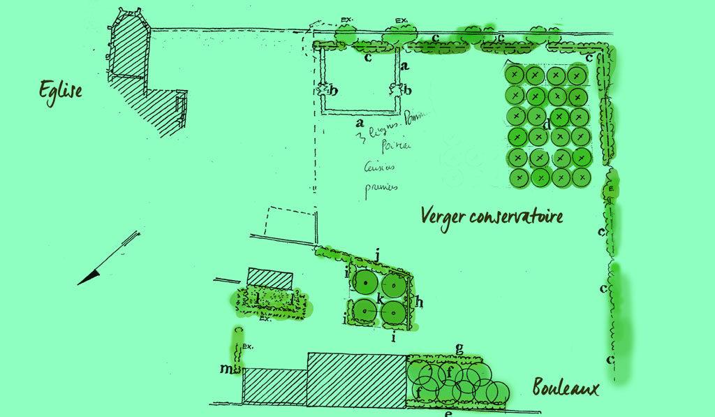 Plan du jardin par Hayat, base méllifère