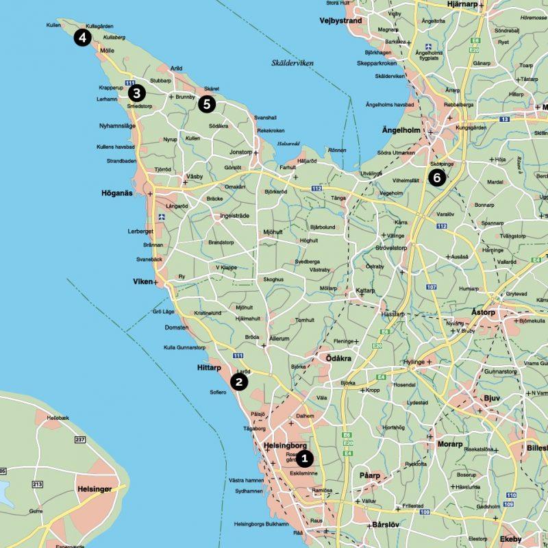 La carte de l'itinéraire en Scanie, Suède. Chartreuse de Basseville.