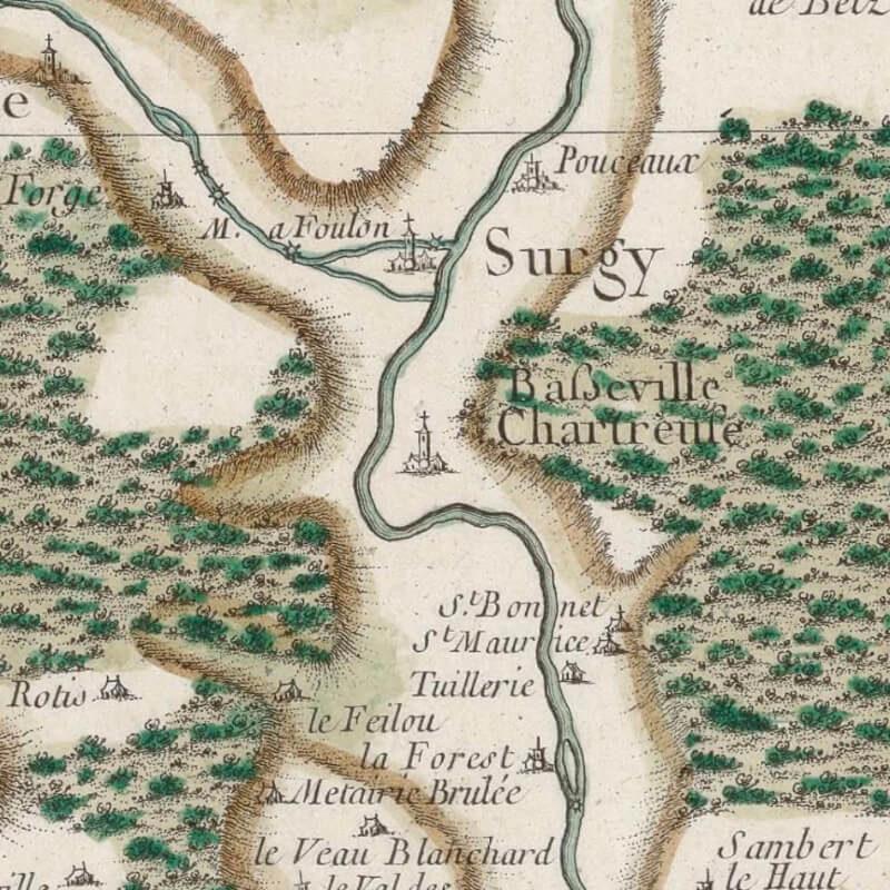 Basseville sur la carte de la France de 1759 par Cassini de Thury.