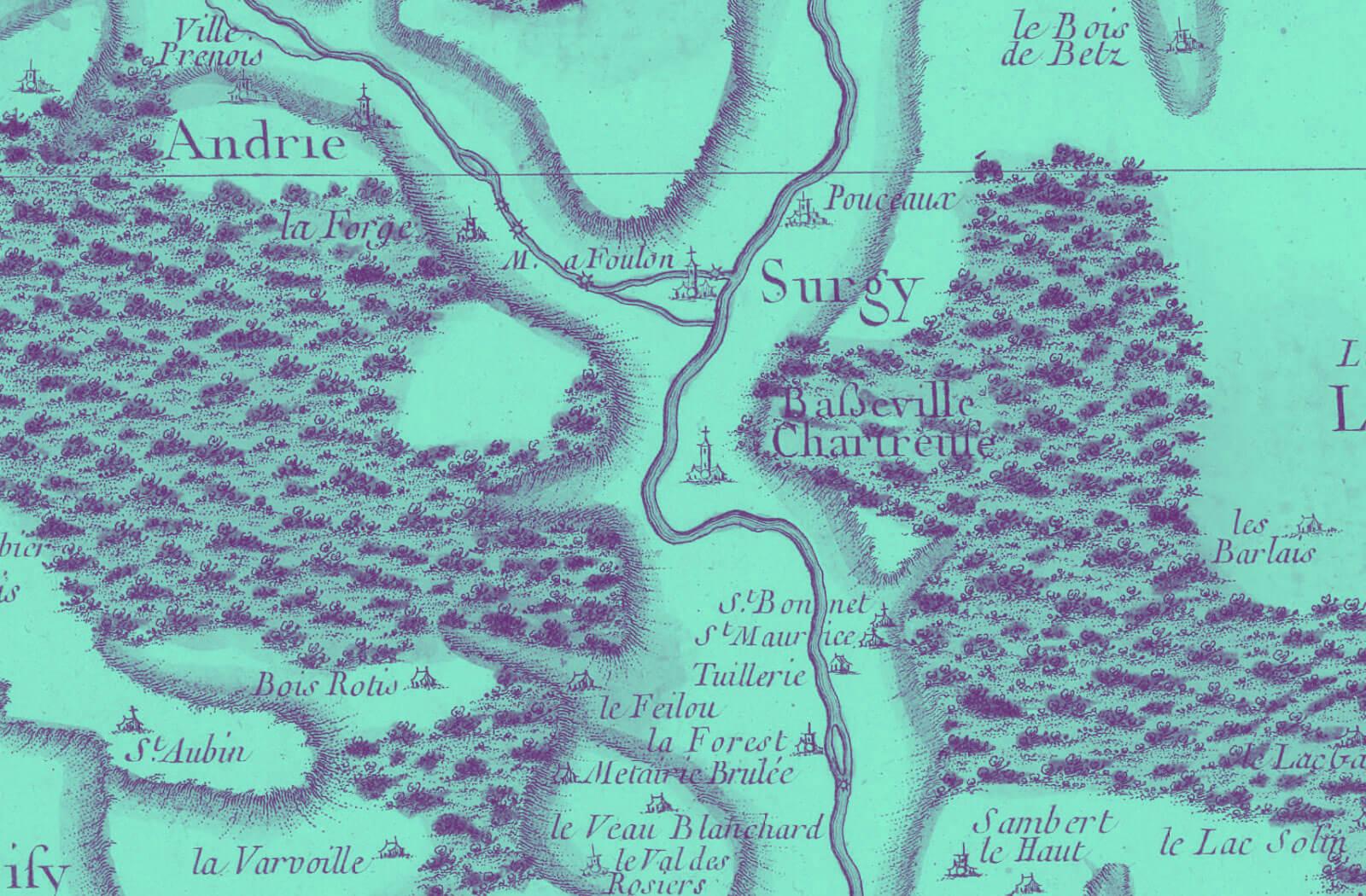 Gros plan sur la carte de Cassini de 1759: les villages de Pousseaux et Surgy.