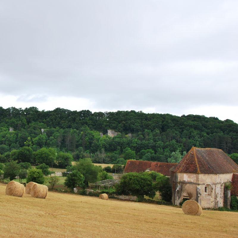 L'été à la Chartreuse de Basseville, vue de l'église, derrière les Roches de Surgy.