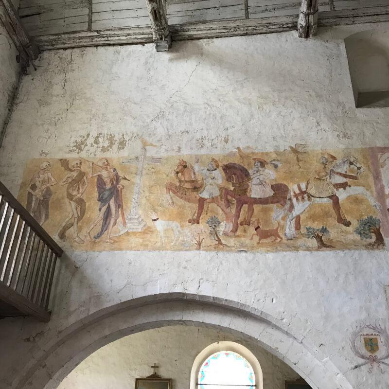 Peinture sur le mur « le Dict des Trois Morts et des Trois Vifs »