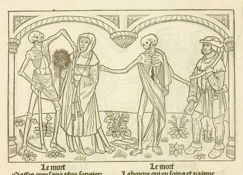 """Le Curé et le Laboureur entourés par la Mort sous forme de squelettes, gravure sur bois extraite du manuscrit """"la Danse Macabre"""" de 1485 conservé à la bibliothèque municipale de Grenoble."""