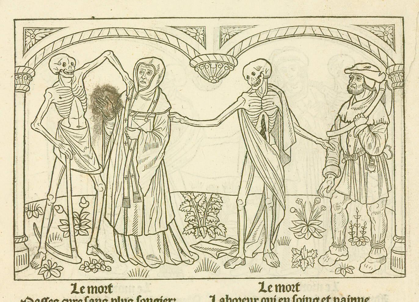 """Le Curé et le Laboureur, gravure sur bois du manuscrit """"la Danse Macabre"""" de 1485"""