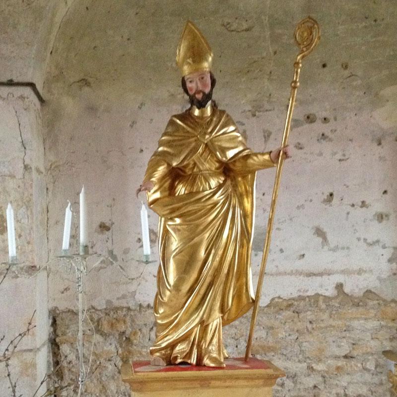 Statue de Saint Edme, conservée dans l'église de Pousseaux, à la Chartreuse de Basseville pendant les Journées du Patrimoine 2016.