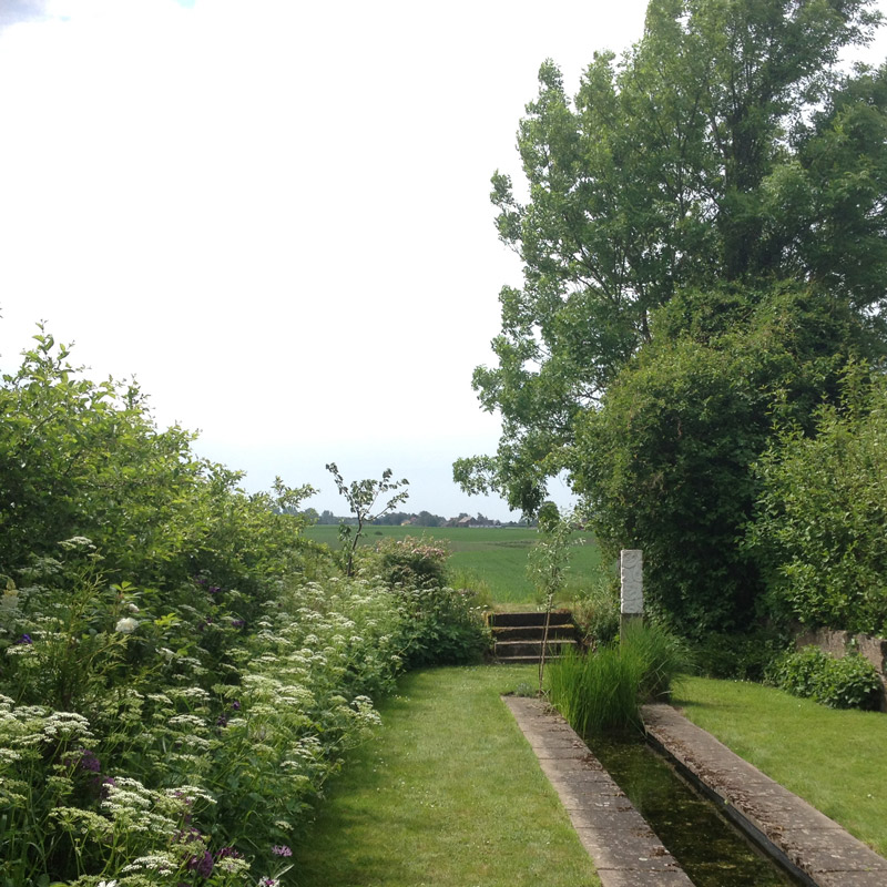 Les champs alentour depuis le jardin de Lottie Hermansson au sud de la ville d'Ängelholm en Suède. Chartreuse de Basseville.