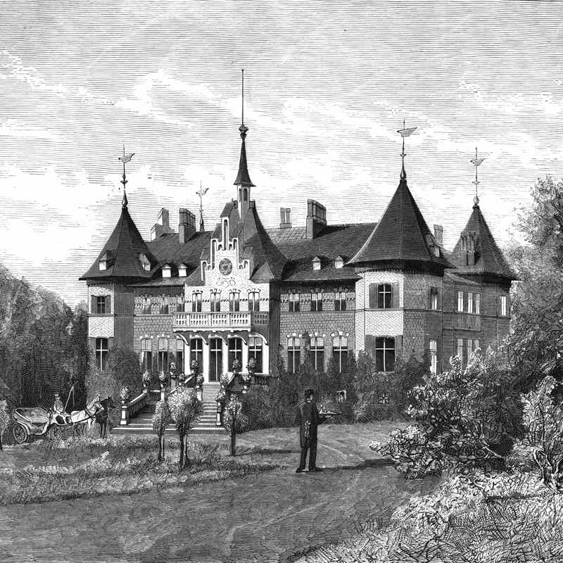 Gravure du château de Sofiero, vers 1877, près de Helsingborg en Suède. Chartreuse de Basseville.