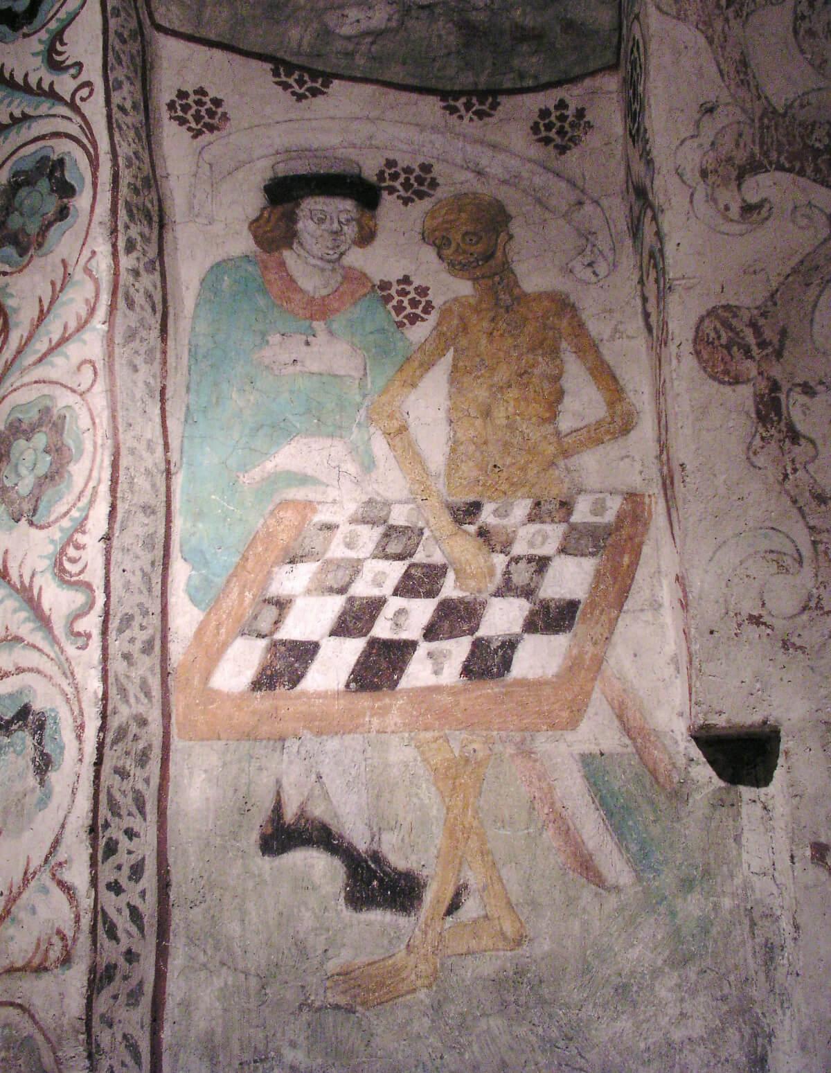 Fresque murale: La Mort jouant aux échecs par Albertus Pictor (1440-1507). Église de Täby, diocèse de Stockholm. Photo de Håkan Svensson.